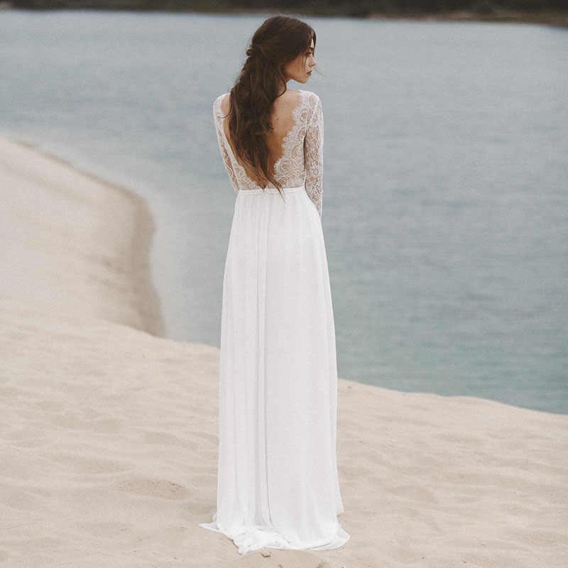 7a63c7d682 ... LORIE Beach Wedding Dresses Long Sleeve V Neack Lace Top A-Line Chiffon  Skirt Open ...