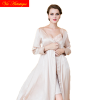lingerie femme red pure silk dress sexy nightwear robe nighty set two piece plus size Women's Sleep Lounge Robe Gown Sets
