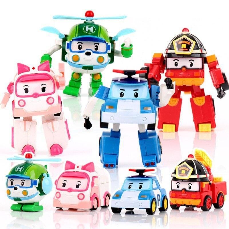 4 pcs/ensemble Quatre Couleur Corée Robot Classique En Plastique Transformation Voiture Jouets Meilleurs Gifs Pour Les Enfants # E