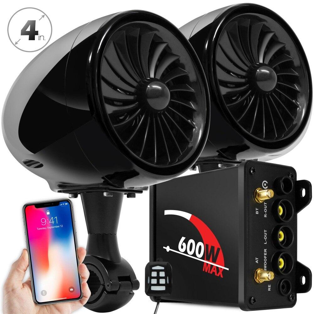 Aileap Moto/VTT Système Audio Bluetooth FM Radio Entrée Aux Filaire Contrôle Une Paire de 4 Étanche enceintes (Noir)