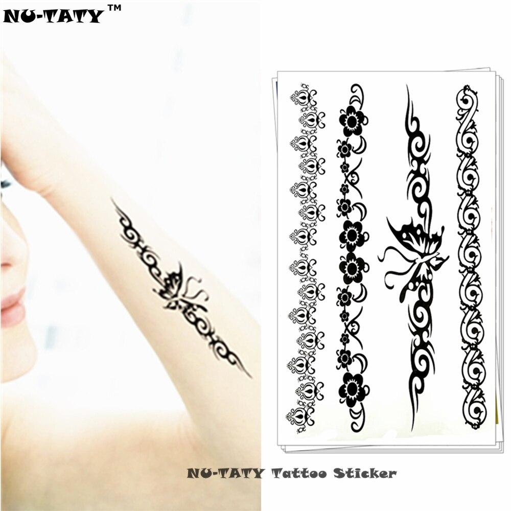 Nu Taty Czarny Motyl Kwiat Tymczasowe Tatuaże Flash Tatuaż Naklejki