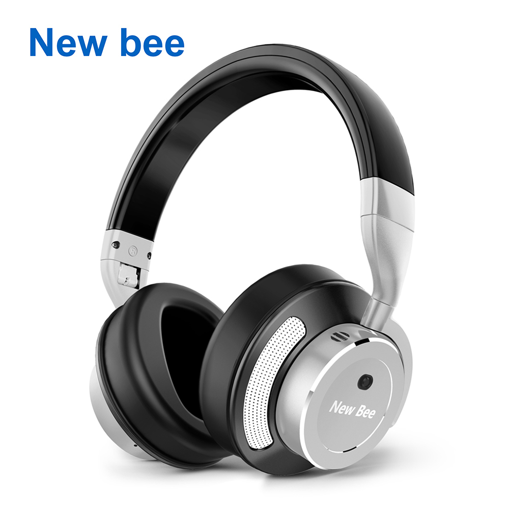 New Bee Active Noise Cancelling Wireless Bluetooth Metal Headphone Stereo Deep Bass ANC Headset  with Mic Bag for Phone Computer