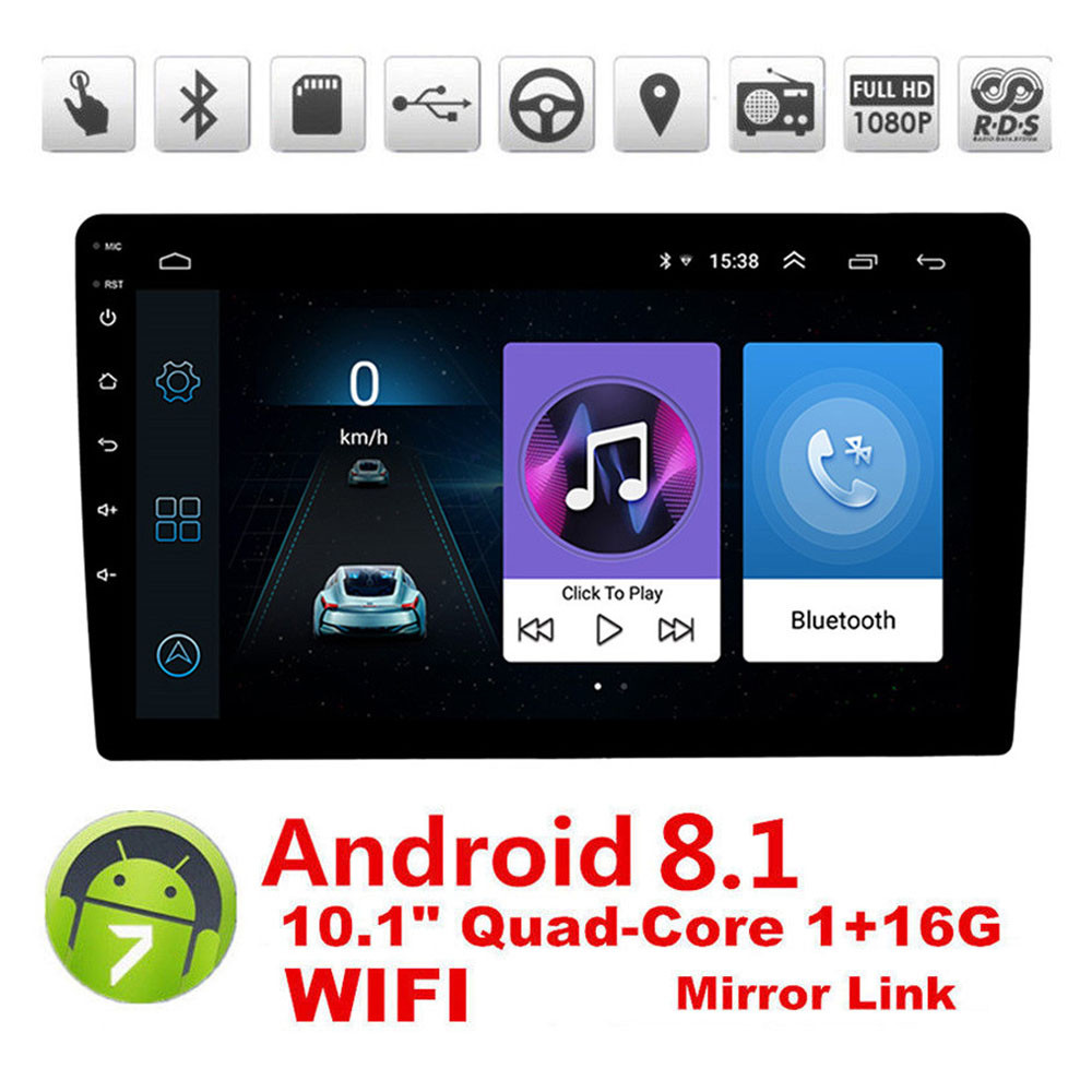 10.1'' Quad Core Car Radio Video MP5 Player 2DIN Android 8.1 Car Stereo Multimedia Player Bluetooth WIFI GPS Navigation