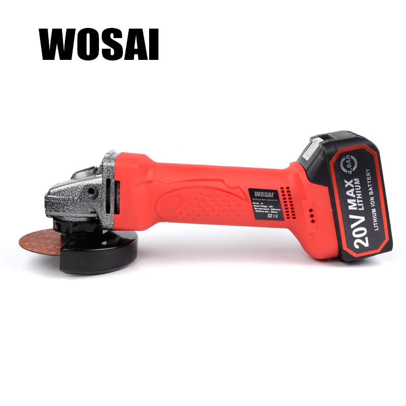 WOSAI 20V Electric Lithium Battery Cordless Angle Grinder Grinding Machine Polishing Cutting Grinding Sanding Wax Power