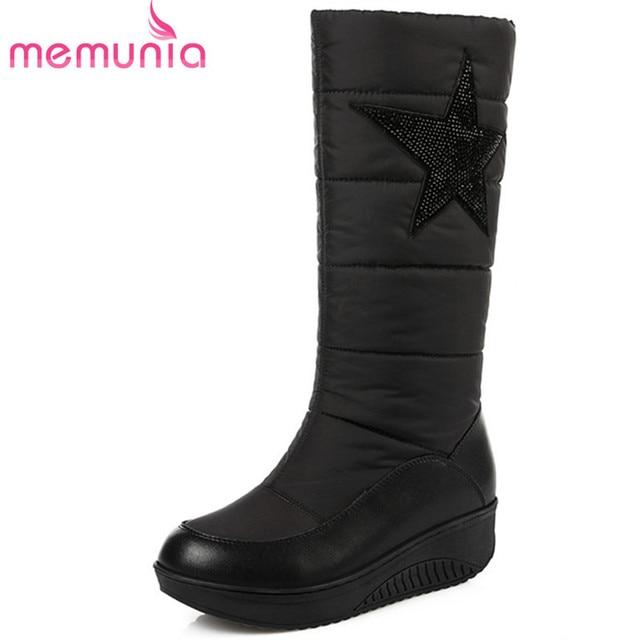 la meilleure attitude 0bafc a4dc2 € 29.34 48% de réduction|MEMUNIA mode hiver femmes bottes noir plate forme  bottes compensées vers le bas imperméable mi mollet bottes en cuir ...