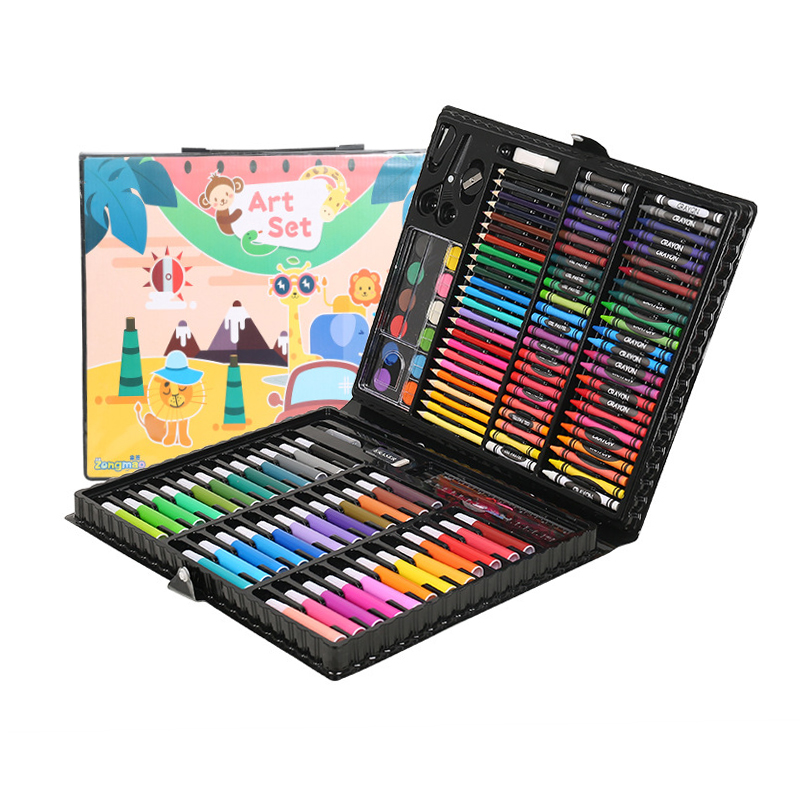 150pcs Children Drawing Set Pupils Watercolor Palette Box Brush Pen Painting Tools Art Kids Gift Box School Supplies 150 children s painting art supplies set stationery gift box paint brush color pencil drawing tools office stationary