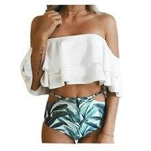 Купить с кэшбэком 2019 Swimwear Women Ruffle High Waist Bikini Swimsuit Push Up Bikinis Women Female Beachwear Bathing Suit Biquini Print Swimsuit