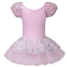 2016 Good Quality Kid Girls Short Sleeve Pink Ballet Dress Leotards Ballet Dress Gymnastic Dress with Sequin For SZ 2~8