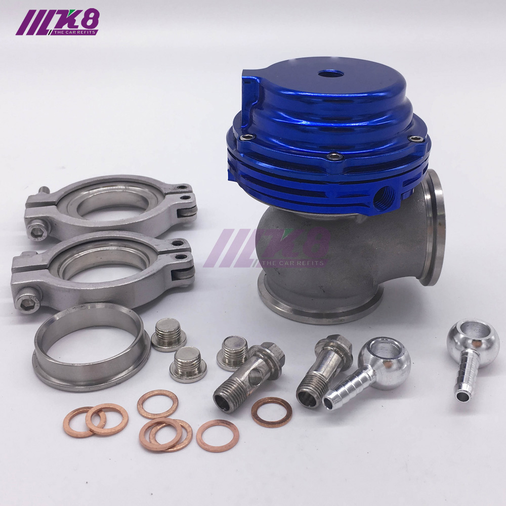 TURBO CHARGER MANIFOLD EXHAUST BLUE NON V-BAND EXTERNAL WASTEGATE+8 PSI SPRING