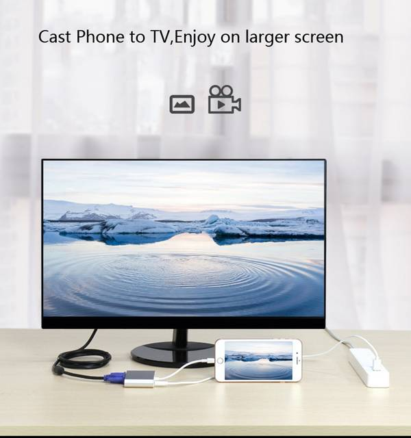 US $19 99 9% OFF Screen Mirroring Video Adapter Phone to TV HDMI VGA HDTV  for iPad Air Pro Mini for iPhone X XS MAX XR 8 PLUS 5 5s 6 6s 7 7 Plus-in