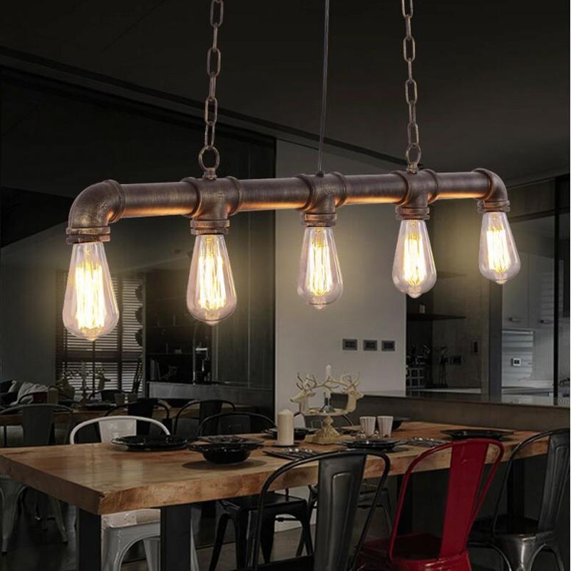 Us 820 Retro Wisiorek Lampy Nordic Loft Przemysłowe Rury żelaza Wisiorek światło Lampy Wiszące Oświetlenie Dekoracyjne E27 35 Pcs żarówki Edisona