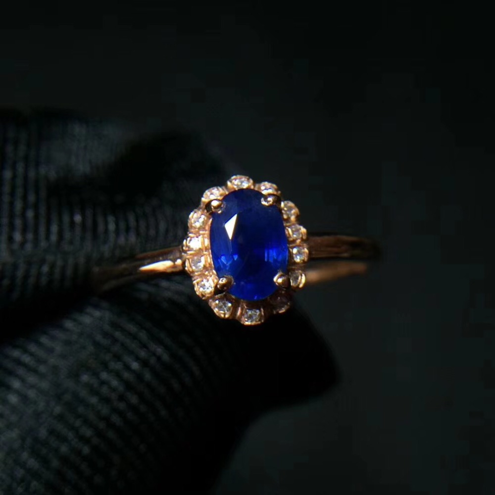 Wedding Ring 18K Rose Gold Natural sapphire ring Real original blue sapphire Ring 4*6mm 0.76ct yoursfs® alliance gold 585 blue heart stone promise ring rose gold plated created sapphire turkish jewelry wedding engagement ring