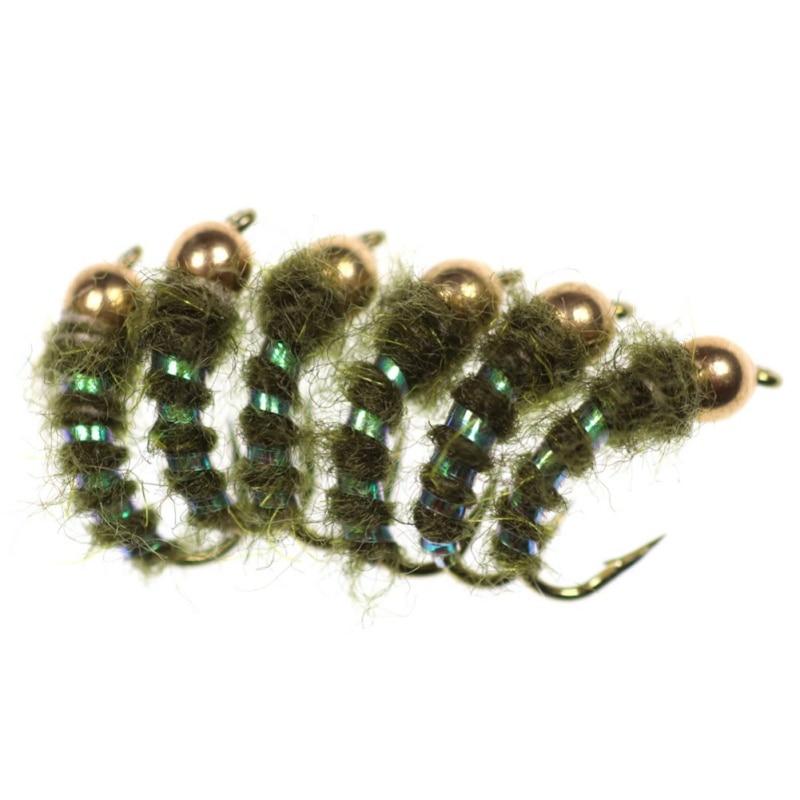 6Pcs Fishing Baits Hooks Copper Beads Head Lure Tackle Tools Fishing Tackle Lifelike Fake Flies Trout Fly Fishing Fishing Lure