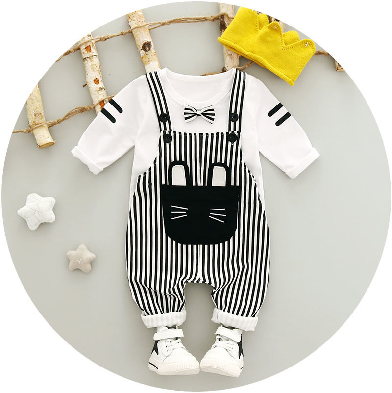 2017 Baby girl/boy clothes spring/autumn girls sets T-shirt + suspenders bib pants 2PC/sets new hot sale 2016 korean style boy autumn and spring baby boy short sleeve t shirt children fashion tees t shirt ages