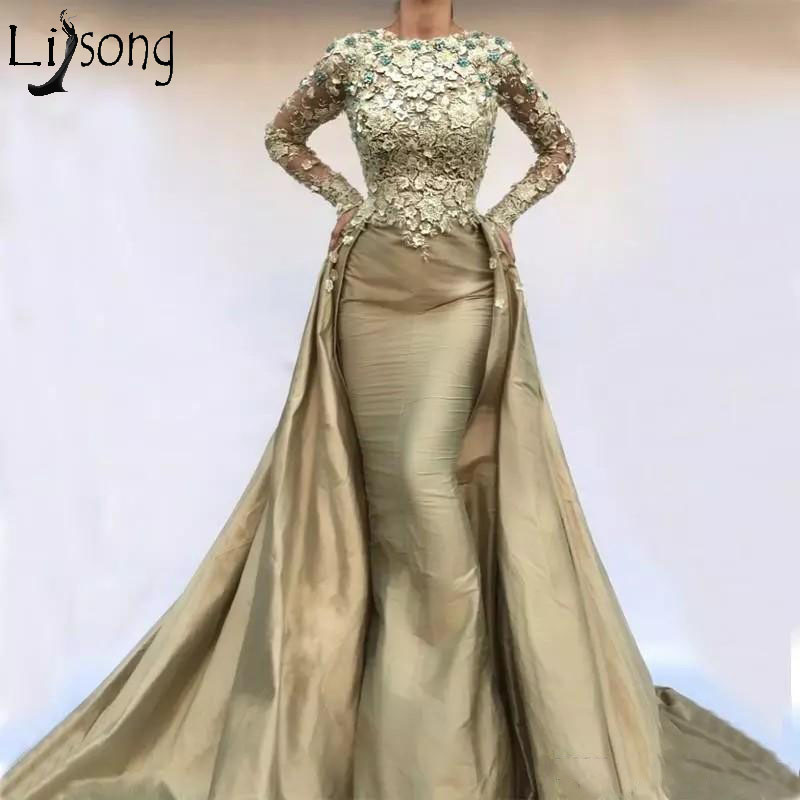 Muslim Overskirts Evening Dress Lace Appliques Beads Long Sleeves Prom Dresses Taffeta Vestidos Women Formal Wear Party Gowns
