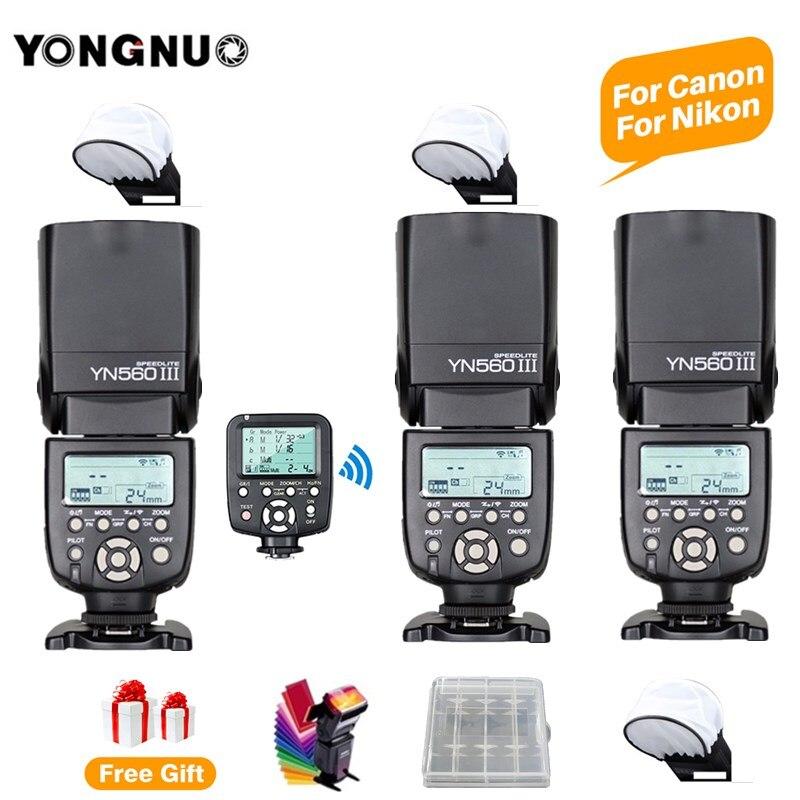 3 pièces YONGNUO YN560III YN560-III YN560 III Flash sans fil Speedlite Speedlight + YN560TX II C/N pour les appareils photo reflex numériques Canon Nikon