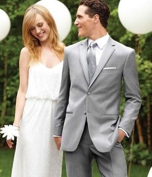 Classic Style Two Button Light Grey Groom Tuxedos Groomsmen Men's Wedding Prom Suits Bridegroom (Jacket+Pants+Vest+Tie) K:954