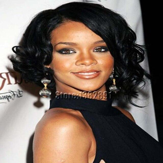 Toko Online Afrika Amerika Pendek Curly Wig Murah Wig Sintetis - Gaya rambut pendek rihanna