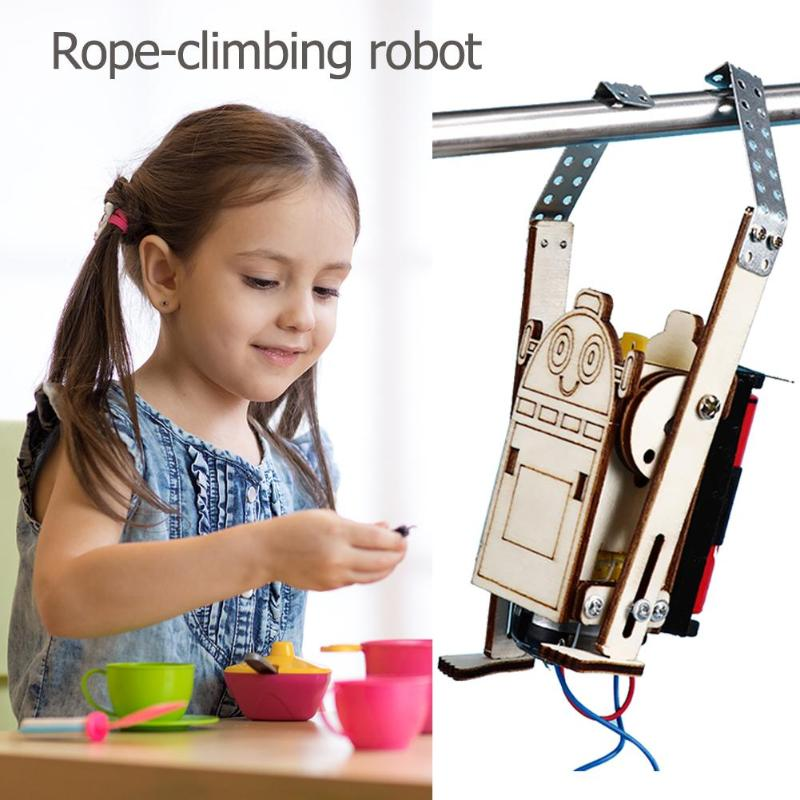 Robot Rope Climbing Model Experiments Kit Kids DIY Science Discovery Toys