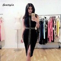 2017 New Fashion Sleeveless Beaded Women Dresses Sexy Split Black White Red Midi Celebrity Party Dress