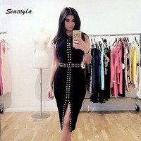 2017 New Fashion Sleeveless Beaded Women Dresses Sexy Split Black White Red Midi Celebrity Party Dress