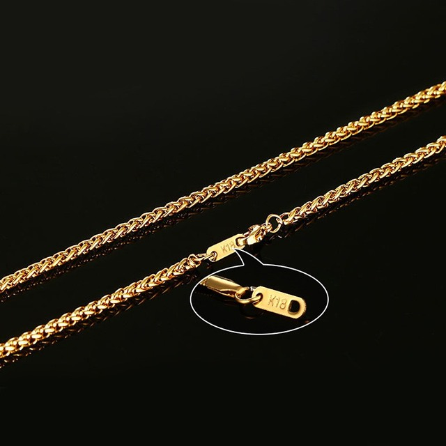 Men 24inch Gold Plated Long Stainless Steel Metal Chain Necklace Snake/Cable/Round Box