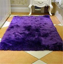 Grey and White purple Sheepskin Hairy Carpet Seat Pad Super Soft Faux Fur Fake Sheepskin - Shaggy Area Rugs For Living room