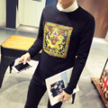 2016 New Arrival Spring Autumn High Fashion Men's Casual Slim Long Sleeved O-neck Pullover Dragon Embroidery Sweater Black/Navy