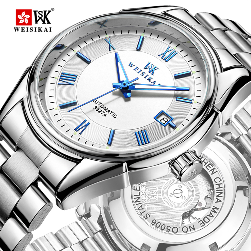 WEISIKAI Fashion Automatic Watch Men Stainless Steel Mechanical Watches Mens Roma Number Wristwatch Male Clock montre homme WEISIKAI Fashion Automatic Watch Men Stainless Steel Mechanical Watches Mens Roma Number Wristwatch Male Clock montre homme