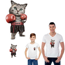 hip-hop boxing cat parent-child clothes iron stickers patches for clothing DIY transfert thermocollants t-shirt applique parches