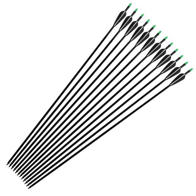 """Flecha para arquería de caza de fibra de vidrio de 33 """", con puntas reemplazables y Fletching de plástico para arcos recurvados/arcos compuestos de columna 500"""
