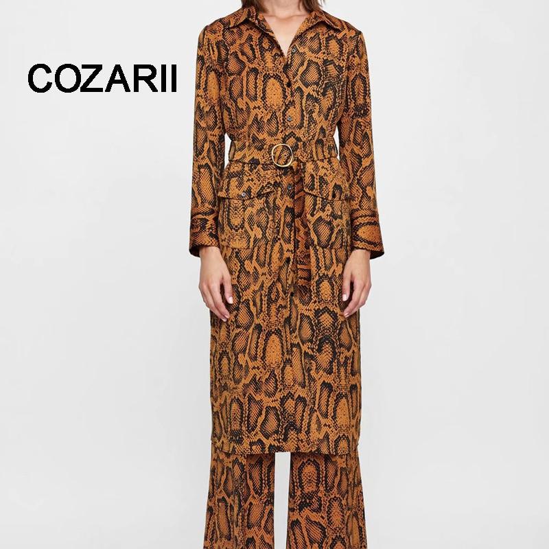 COZARII leopard dress Women Vestidos Feminina Dress England Style Print snake dress Sashes Ring Pockets Regular Midi Dress