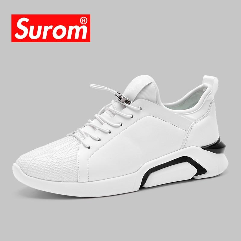 SUROM Uomo Sneakers Estate Colore bianco Walking Calzature leggere - Scarpe da uomo