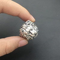 Solid Sterling Silver Lion King Thick Band Rings Men 100% Solid Silver 925 Mens Jewelry Cool Gothic Male Thai Silver Ring Gift