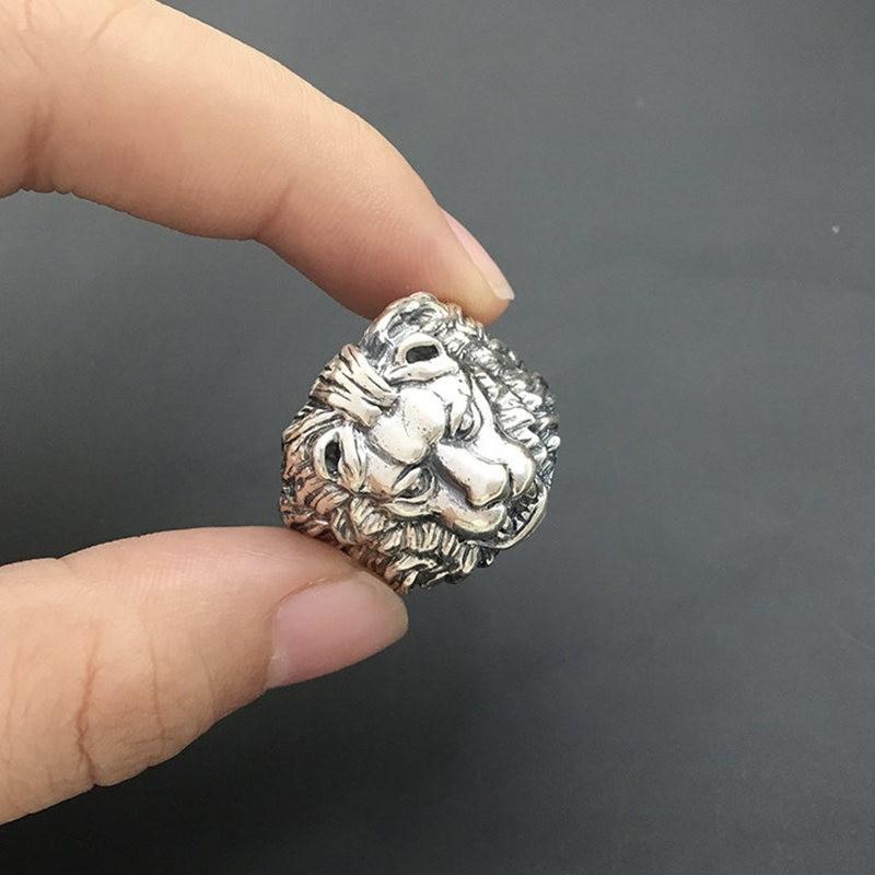 Solide en argent Sterling Lion roi épais bande anneaux hommes 100% en argent massif 925 hommes bijoux Cool gothique mâle Thai argent anneau cadeau