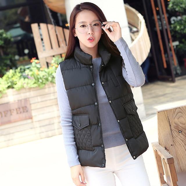 Зима случайные хлопка жилет женский новый воротник жилет пальто женщин Корейской сплошной цвет кнопки карман жилета T333