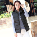 winter casual cotton vest female new collar vest coat women Korean solid color buttons pocket vest T333
