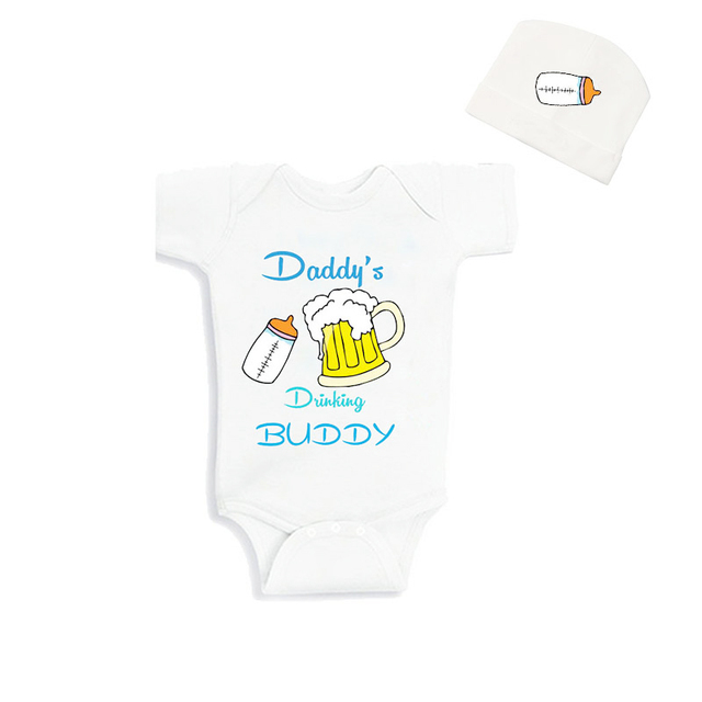 Cublutomind Fathers Day Daddys Drinking Buddy Funny Baby Body Suit