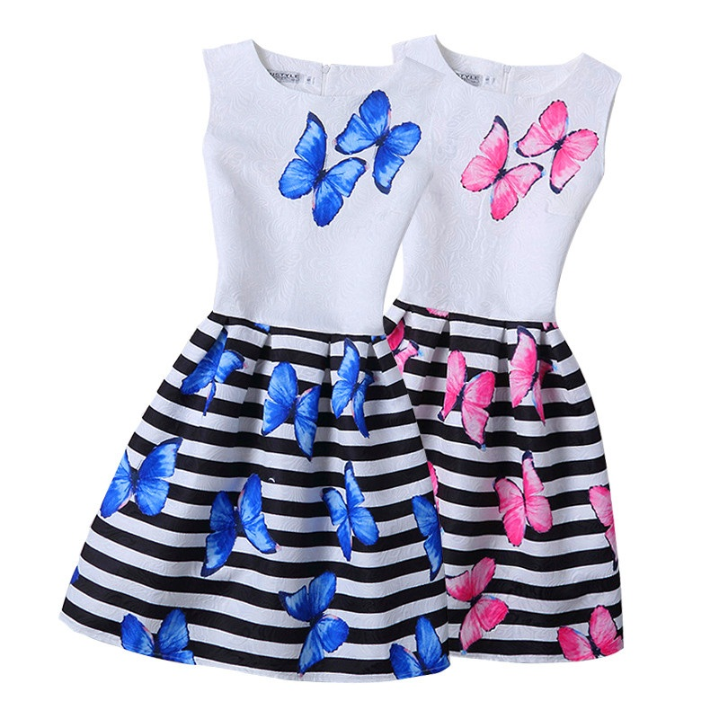 все цены на 5-20 Yrs Girl Dress Summer parent-child striped Sleeveless Butterfly Print Girl Princess Dresses Party Girl Clothes teenagers