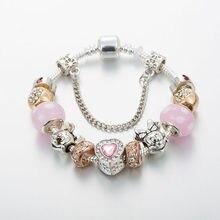 Annapaer dropshipping moda artesanal mickey minnie charme pulseiras apto pan pulseira para as mulheres miúdo diy jóias presente b19009