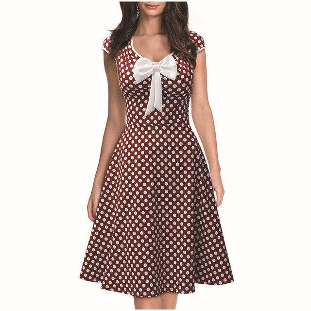 69233d3b2c9 iRicheraf Summer Retro Dress Women Clothing O-neck Slim Dot Pattern New Cute  Bow Short Sleeve Mini Dresses Blue