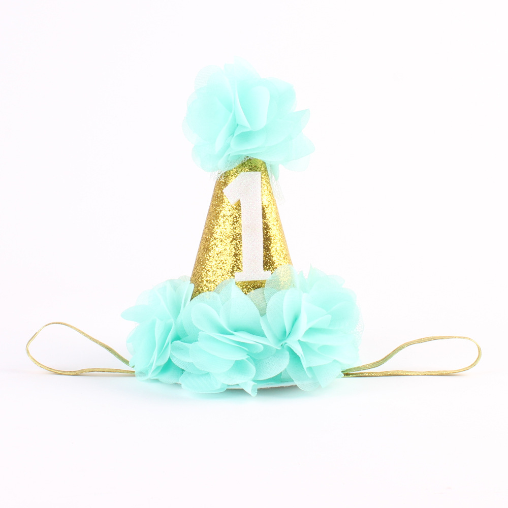 First Birthday Crown Headband for Girl Hair Accessories cake smash hat gold birthday hat with chiffon flower 1PC 1piece hair accessories for girl