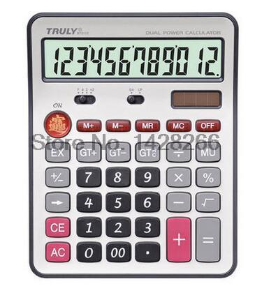 One Piece Truly 872 12 office font b calculator b font 12 Digits Large Screen Dual
