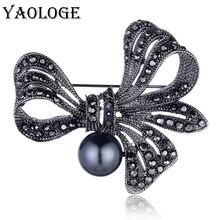 YAOLOGE Vintage Black Pearl Crystal Rhinestone Flower Brooch Rosette Pins For Women Elegant Wedding Jewelry Dress Hijab Jewelry elegant rhinestone and faux pearl decorated brooch for women