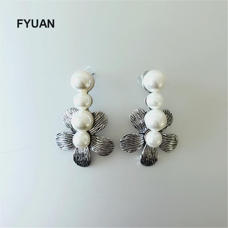 FYUAN Új design ezüst ezüst három gyöngy fülbevaló. Virágok Nagy fülbevalók nőknek