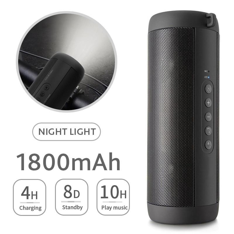 T2 Bluetooth Muziek Bass Speaker Waterdichte Draagbare Outdoor Led Draadloze Kolom Luidspreker Ondersteuning Tf Card Fm Radio Aux Input 1
