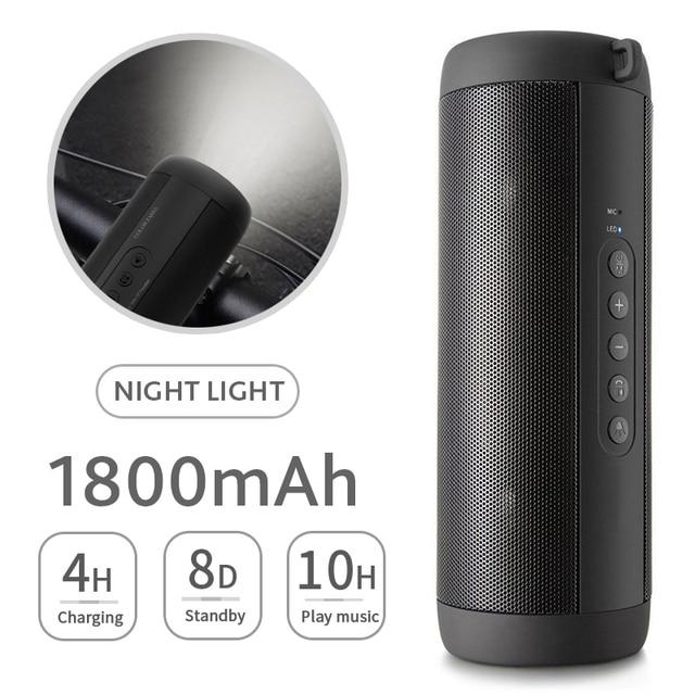 T2 música Bluetooth Bass altavoz portátil impermeable al aire libre LED de columna inalámbrica altavoz soporte TF tarjeta FM Radio Aux entrada