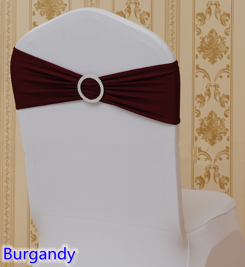 Burgandy colour on sale chair sash with Round buckles for chair covers spandex band lycra sash bow tie wedding decoration