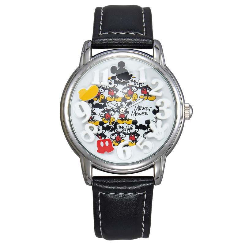Disney Original mens wrist watches black yellow brown leather quartz clocks Mickey Mouse number student casual