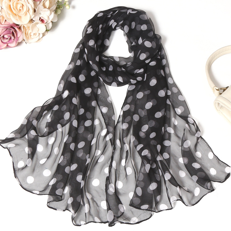 Classic Black And White Silk Scarf Woman Spring And Autumn  Polka Dot Shawl Long Scarves Versatile Air  Conditioning Scarf